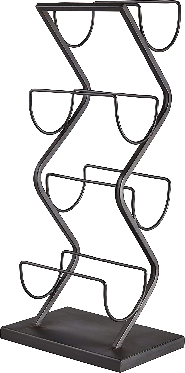 Renewed 22 x 10 x 7 Inches Rivet Contemporary Decorative Curved Metal Countertop Standing Wine Racks Black