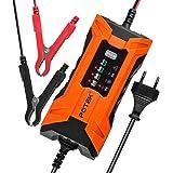 POTEK Chargeur de Batterie/Mainteneur 2A Intelligent de véhicules,moto (pour batterie Plombe-Acide,AGM et GEL 6V/12V de 4 à 120Ah) Ecran LCD,brancher en permanence,récupérer la batterie,Cadeau Noël