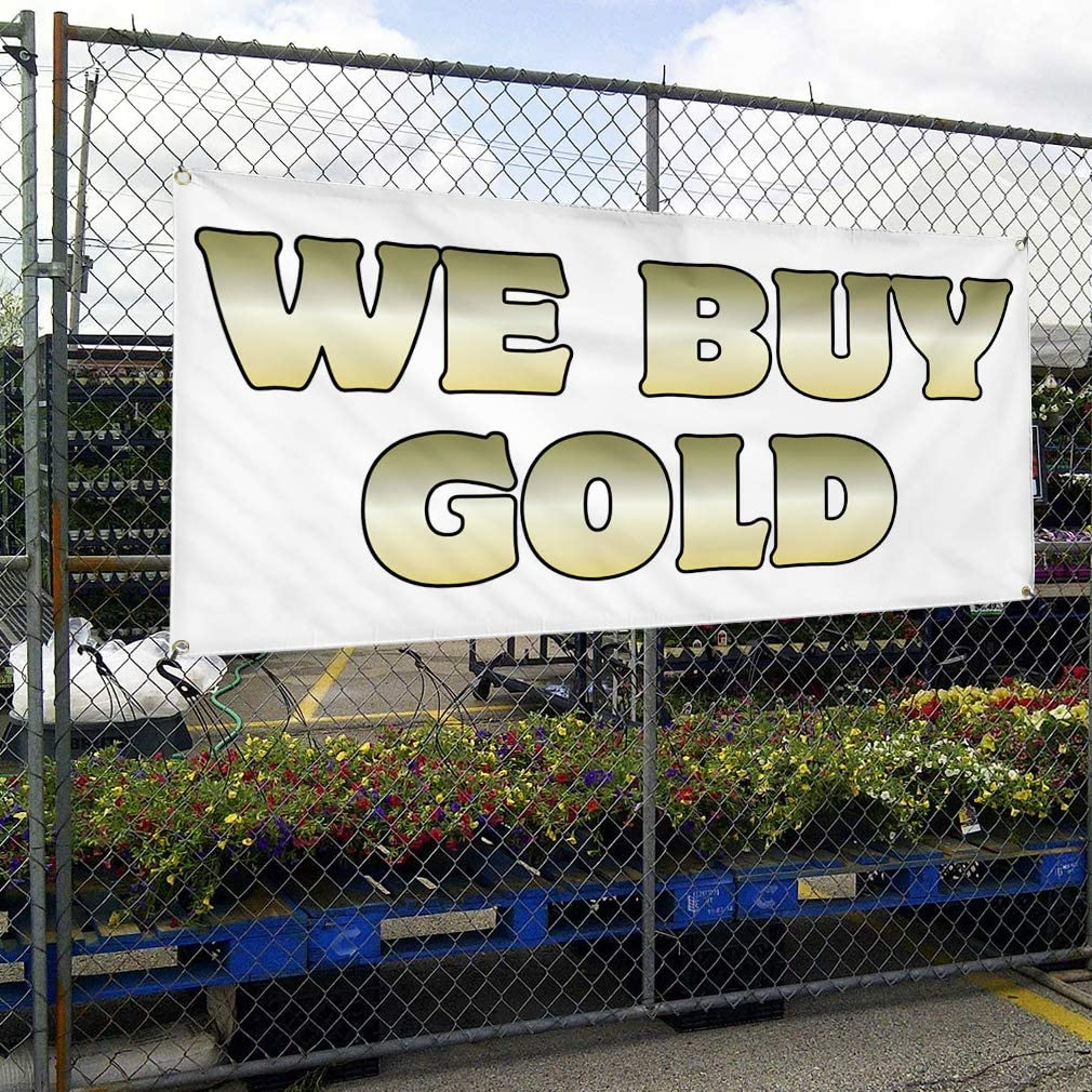 Vinyl Banner Multiple Sizes We Buy Gold Business D Business Outdoor Weatherproof Industrial Yard Signs White 8 Grommets 48x96Inches