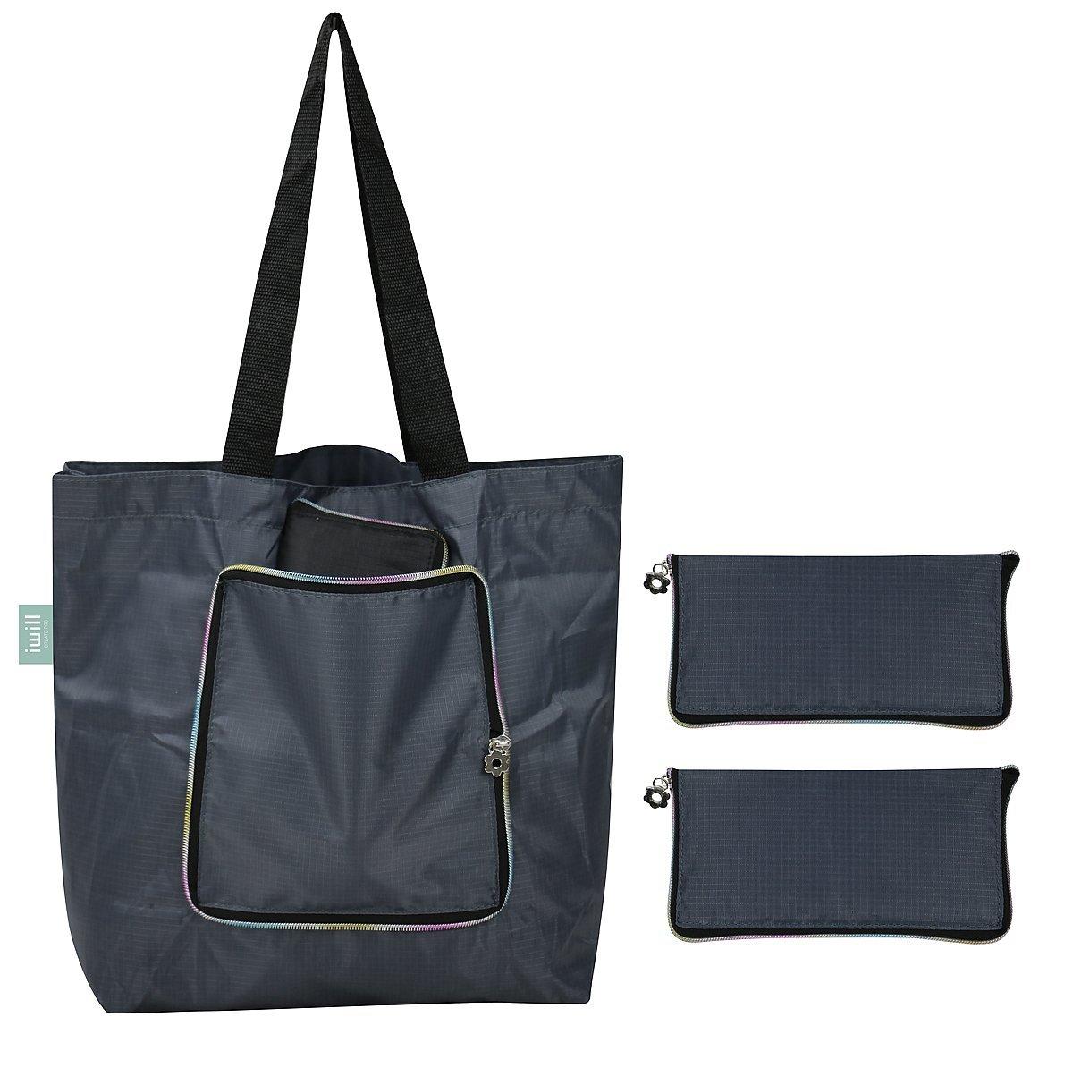 Sac bandoulière léger en polyester, sac à bandoulière, sac à bandoulière, paquet de 2, gris foncé I WILL