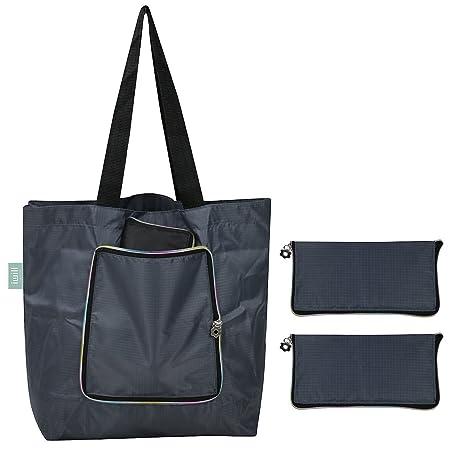 Bolsa de viaje plegable de viaje de playa de poliéster ligero, bolsos de compras estilo