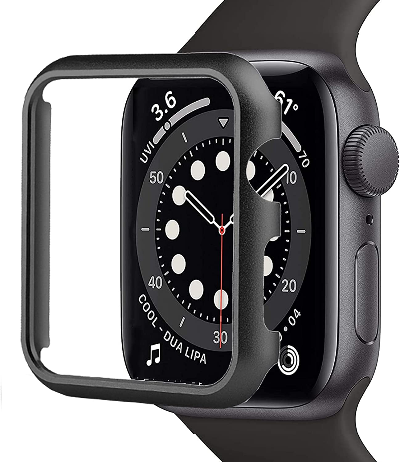 Compatible with Apple Watch SE Series 6/5/4 Case 44mm[No Screen Protector] Impact Resistant Aluminium Bumper Case for Apple Watch SE Series 6/5/4(Black)