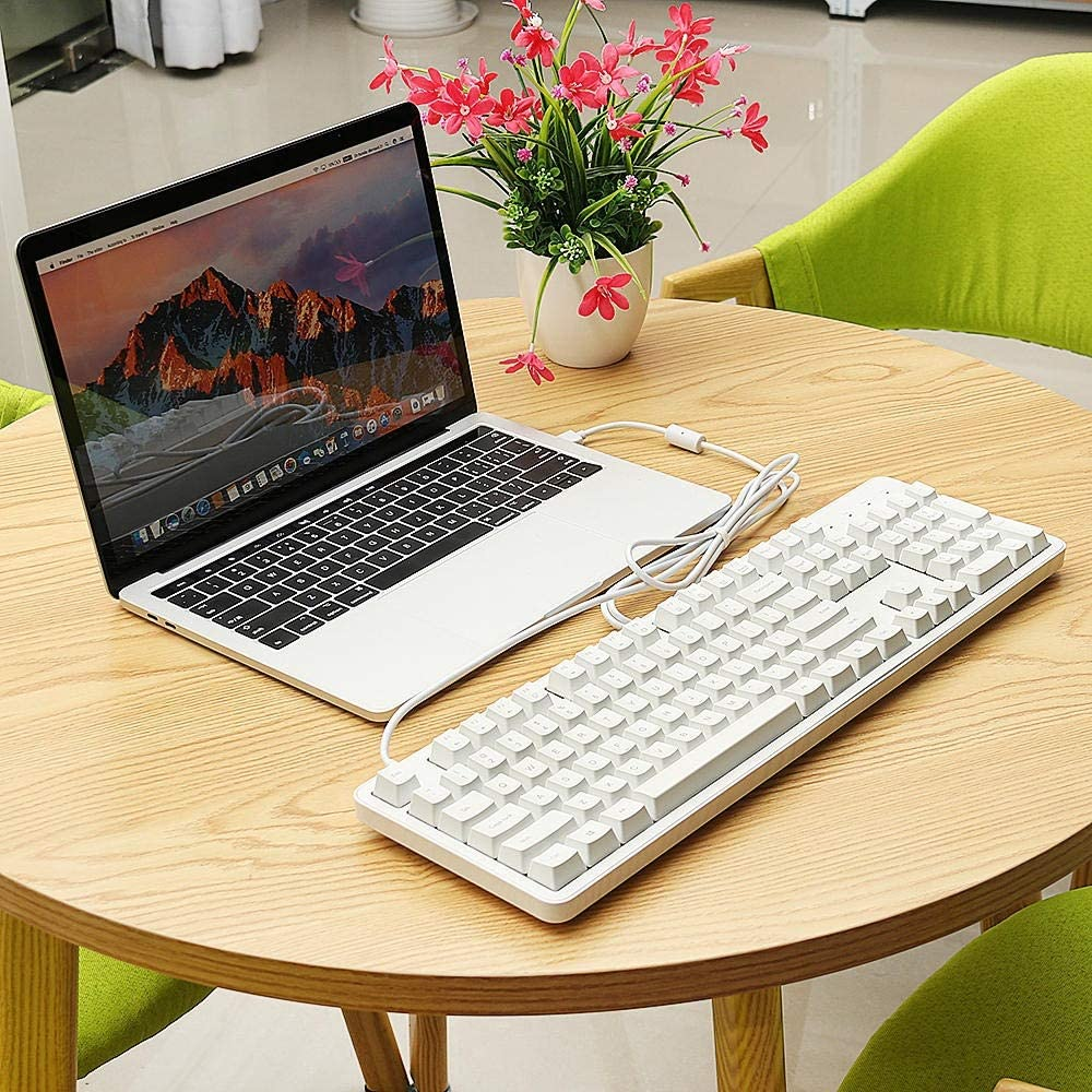 Color : White, Size : One Size CVEUE EL Keyboard Mechanical Gaming Keyboard Original 104Keys NKRO Cherry Red Switch Mechanical Keyboard Not Easy to Fade Gaming Keyboard