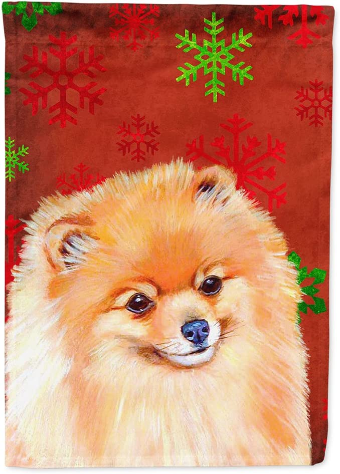 Caroline's Treasures LH9350GF Pomeranian Red and Green Snowflakes Holiday Christmas Flag Garden Size, Small, Multicolor