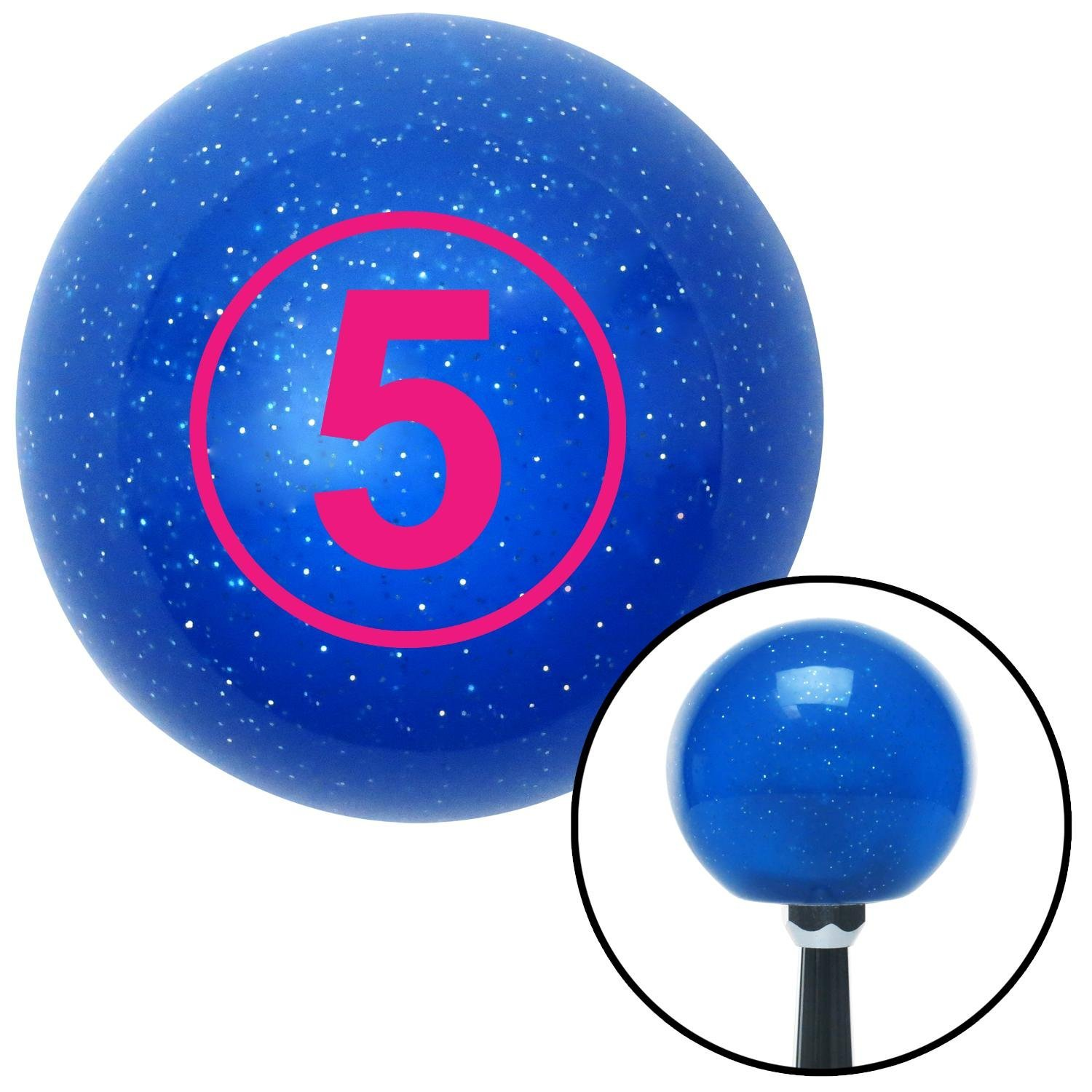 American Shifter 22303 Blue Metal Flake Shift Knob with 16mm x 1.5 Insert Pink Ball 5