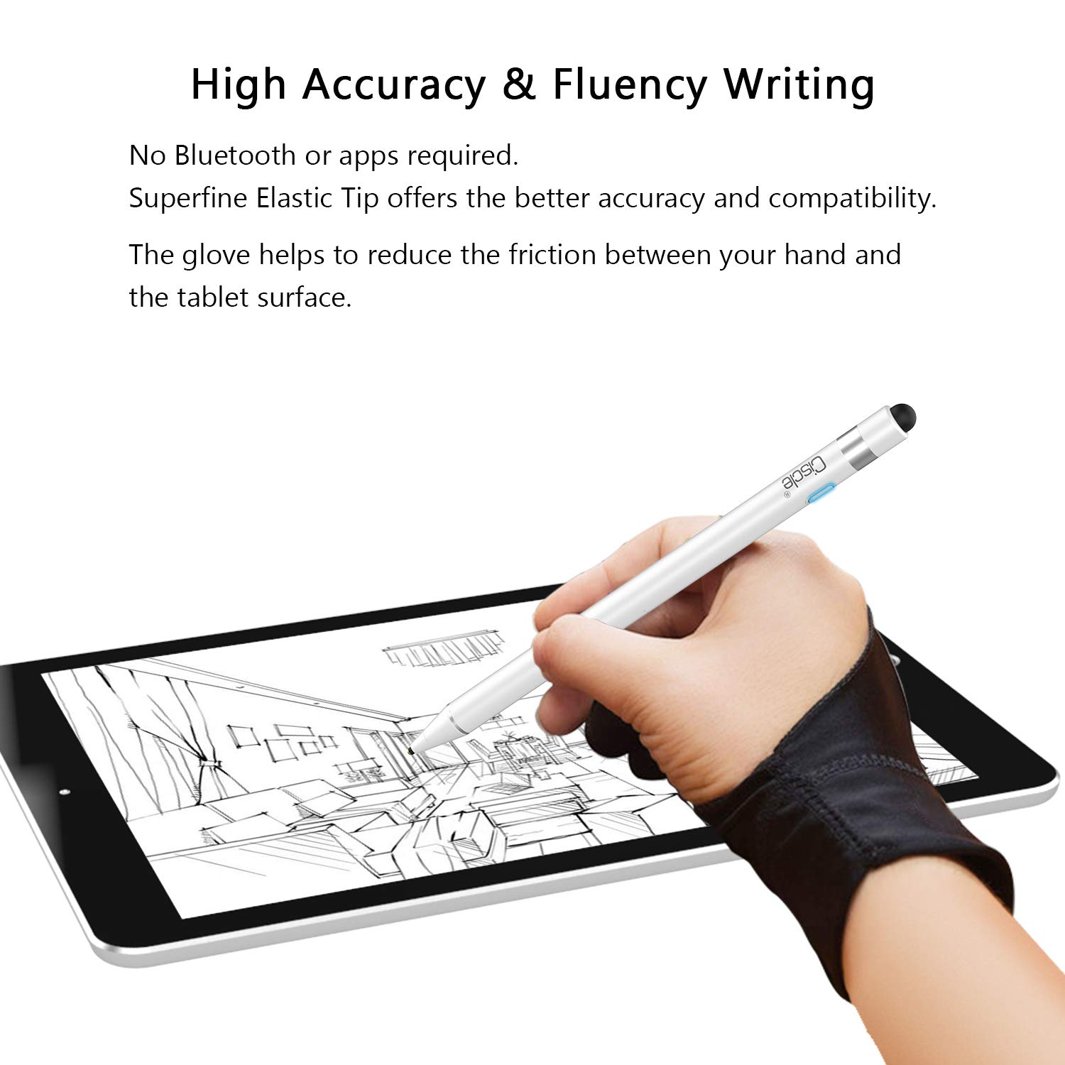 Android Tablets-Black 2 in 1 High Sensitive Rechargeable Active Stylus Tip iPhone CISCLE Stylus Pens for Touch Screens 5 Mins Auto-Off Smart Digital Pencil Compatible for Apple iPad