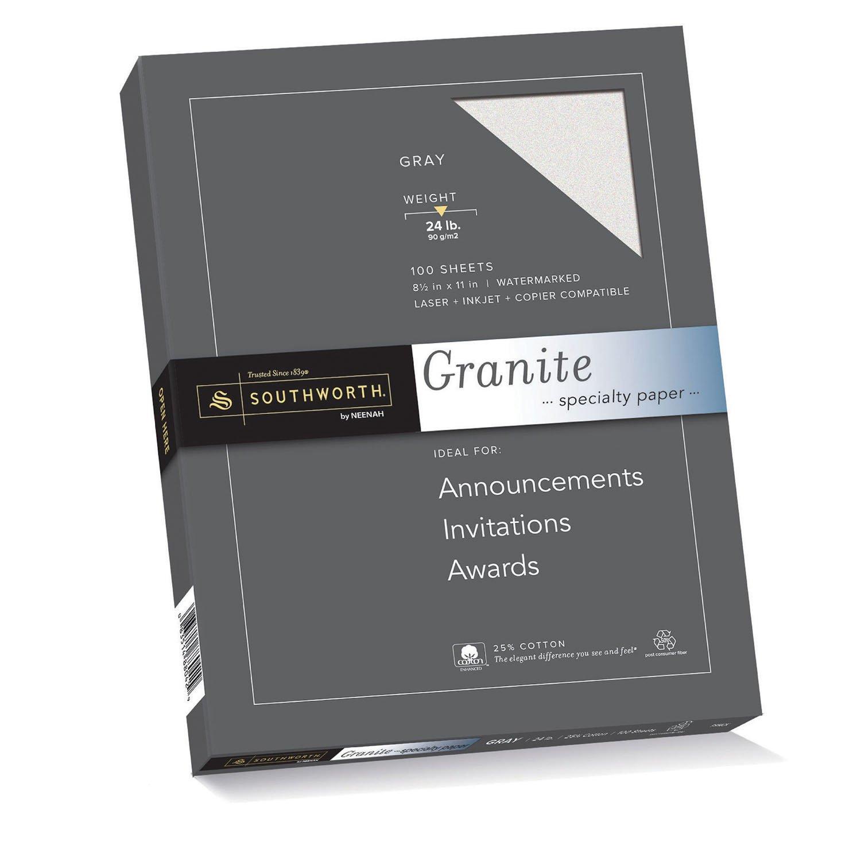 Southworth Fine Granite Paper, 24 lb, Gray, 100 Count (P914CK/3/36) by Southworth