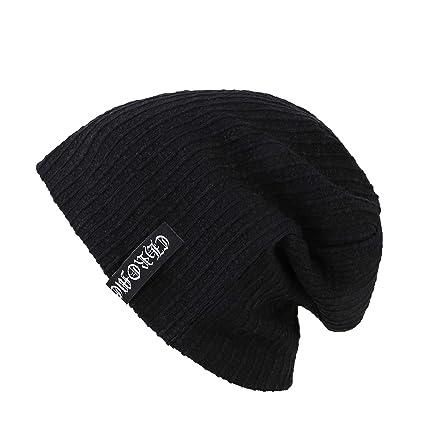 a351dc5cdc2 pengzitou Knit Beanie Slouchy Beanie Hat - Unisex Winter Ski Ear Guard Cap  Warm Skull Cap