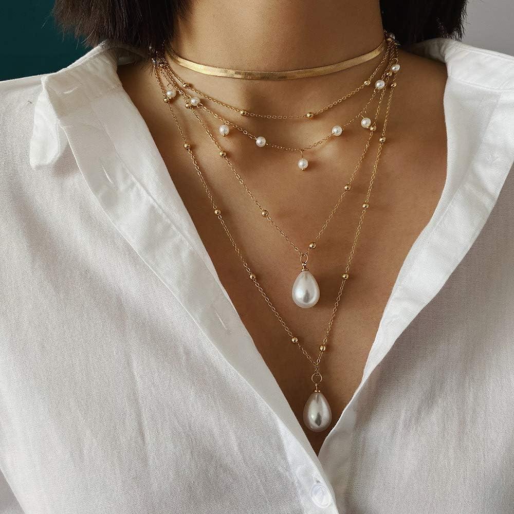 GAOHAILONG Unregelm/ä/ßige Mehrschichtige Wassertropfen Perlenkette Klassische Pers/önlichkeit Geeignet Freundinnen Und Freundinnen