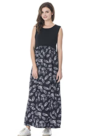 665bd02b7f6367 bearsland Women s Maternity Summer Contrast Sleeveless Nursing Tank Top  Floral Print Maxi Dress - - Medium