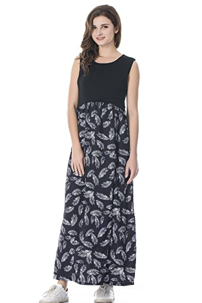 d7c621bf4314a2 bearsland Women s Maternity Summer Contrast Sleeveless Nursing Tank Top  Floral Print Maxi Dress - - Medium  Amazon.co.uk  Clothing
