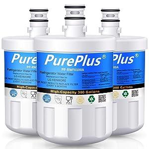 PUREPLUS 5231JA2002A Refrigerator Water Filter, Compatible with LG LT500P, 5231JA2002B, GEN11042FR-08, LFX25974ST, ADQ72910901, ADQ72910907, Kenmore 9890, 469890, LFX25973D, LSC27925ST (Pack of 3)