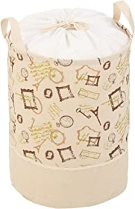 Laundry Hampers – French Themed Pop-Up Clothes Hamper, Jute Tote Perfect for Laundry, Laundromats, Double Handle Drawstring Bag, 16 x 13 Inches