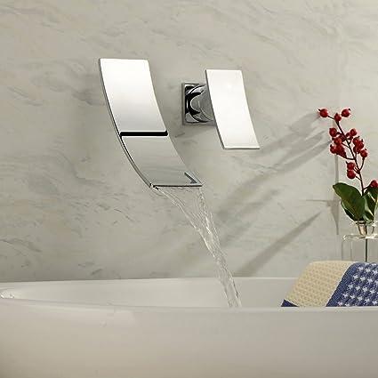 Aquafaucet Wall Mount Waterfall Lavatory Vanity Bathroom Vessel Sink ...