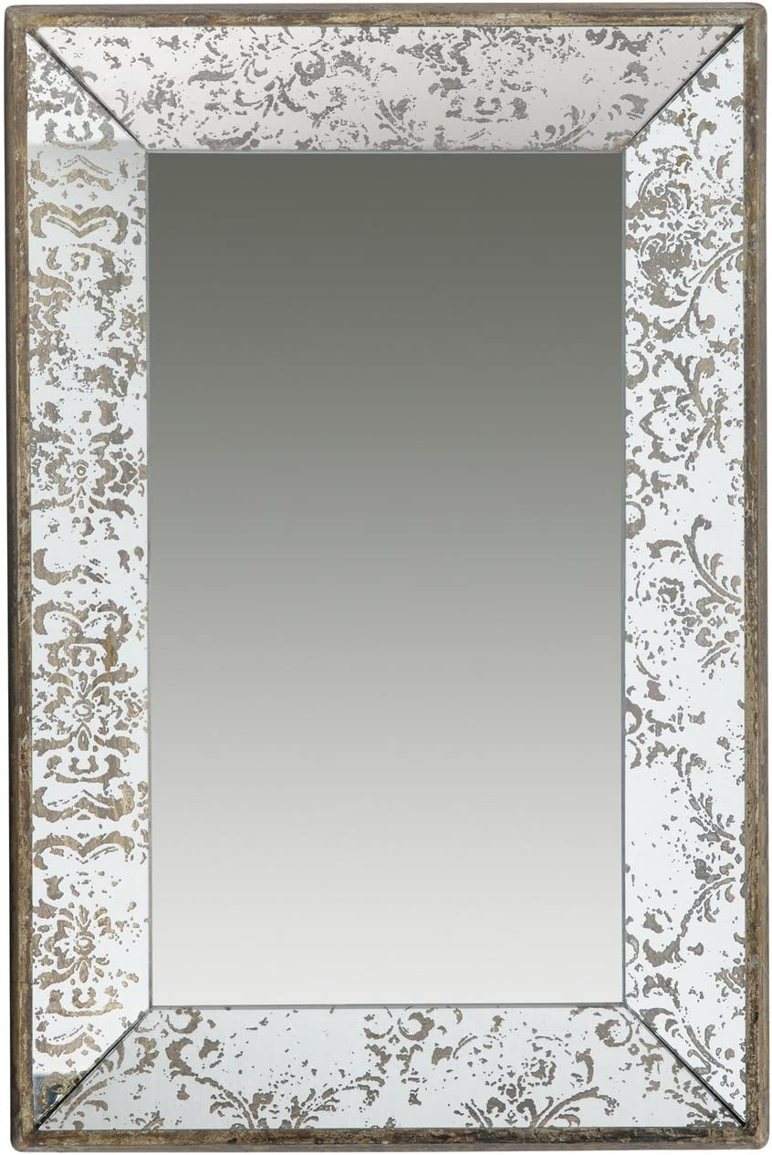 """A&B Home Antique-Look Frameless Rectangle Wall Mirror Tray, 24"""" x 15.5"""" x 2"""""""