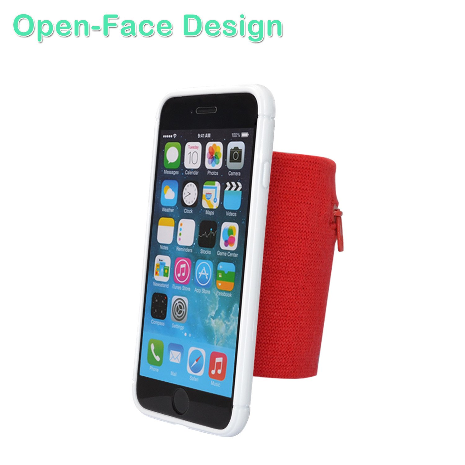 Red /& White s WANPOOL Sport Sweatband Wristband Forearm Band with a Little Pouch for Keys and Coins for iPhone 6