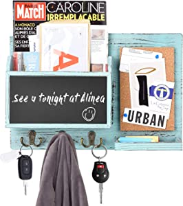 Urban Deco Mail Organizer Wall Mount Mail Sorter with 3 Key Hooks, Chalkboard and Corkboard Rustic Home Deco for Entryway, Dining Room, Office, Blue