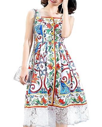 54309d01521 Aofur Womens Summer Beach Casual Strap Sleeveless Dress Lace Sundress UK  Plus Size 8-24  Amazon.co.uk  Clothing