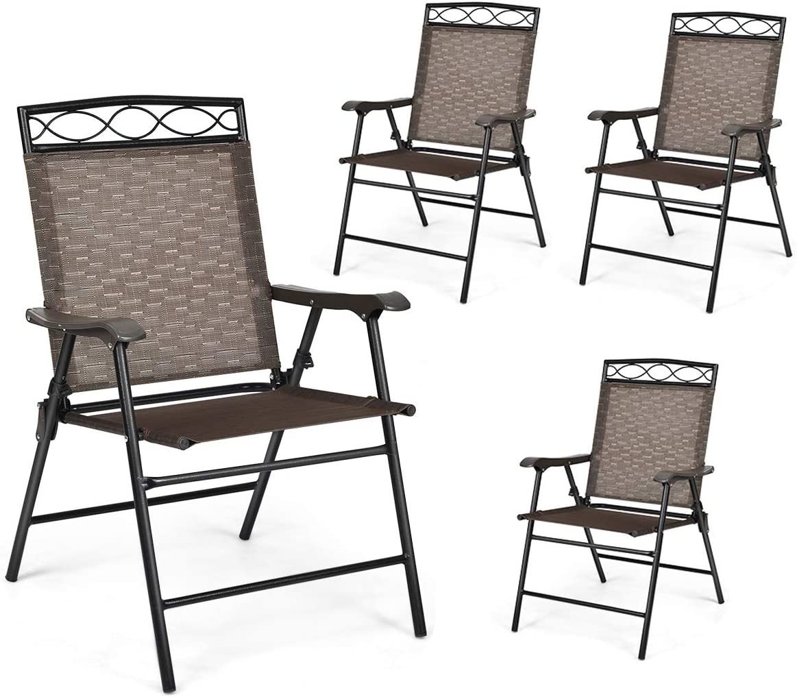 Safstar Set of 4 Folding Patio Chairs, Portable Sling Chairs with Armrests and Metal Frame, Indoor Outdoor Reclining Chairs for Beach Backyard Balcony