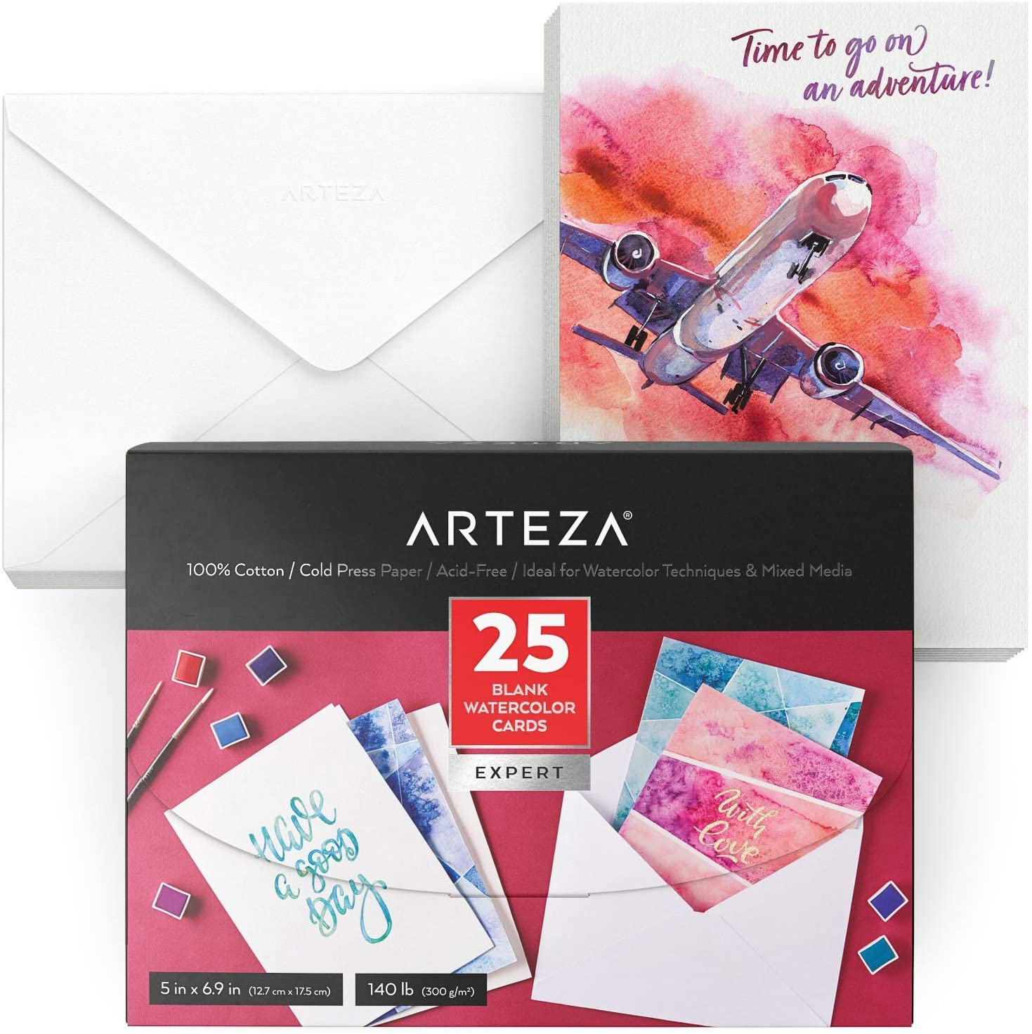 Arteza Blank Watercolor Cards with Envelopes, 5x6.875 Inches, Set of 25, Heavyweight, 140 lb, 100% Cotton Watercolor Postcards for Thank You Notes, Invitations & Greeting Cards : Office Products