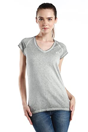 Tee Neck Label Fred Perry Sleeves V At Green Shirt Short Women's pACnC8qw