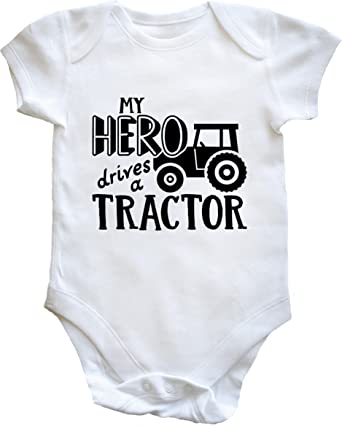 262e72803 Hippowarehouse My Hero Drives a Tractor Baby Vest Bodysuit (Short Sleeve) Boys  Girls: Amazon.co.uk: Clothing