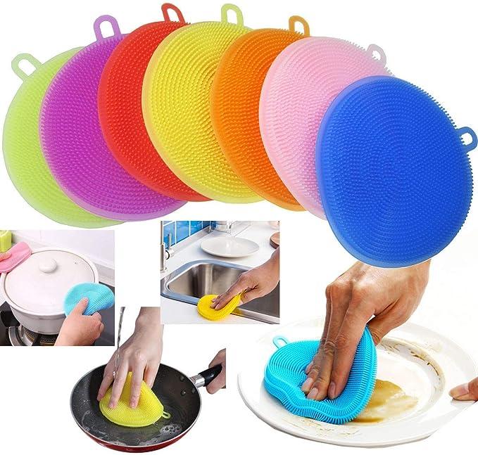 1 Stk Silikon Schwamm Scrubber Küche Waschen Haushalt Bürste Lappen Reinigung