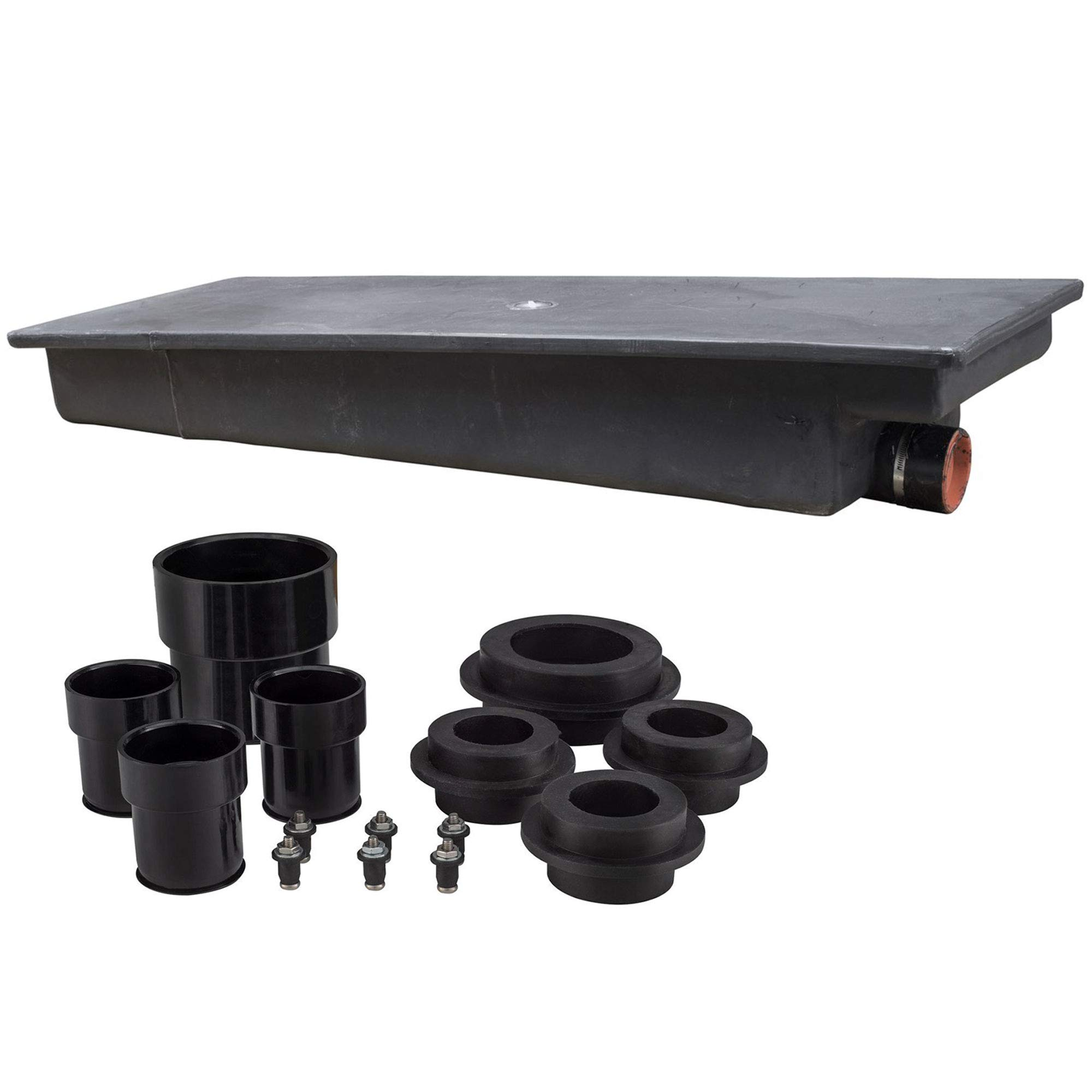 RecPro 25 Gallon RV Holding Tank 53'' x 20'' x 8'' | Black Waste Water | 1138 | Includes Universal Installation Fittings Kit