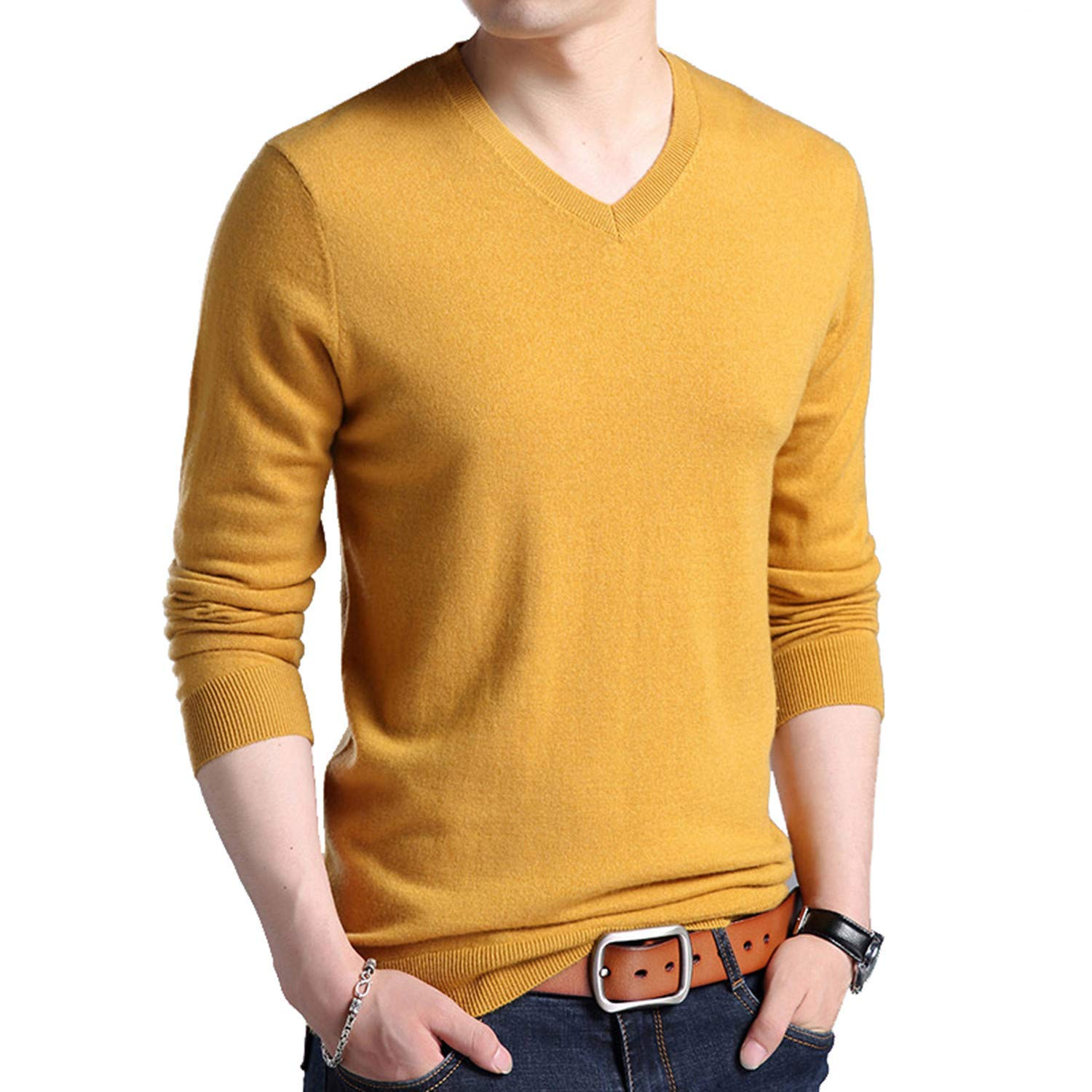 Popular Classic Pure Color V-Neck Cashmere PulloverThick Warm Wool Sweaters 03