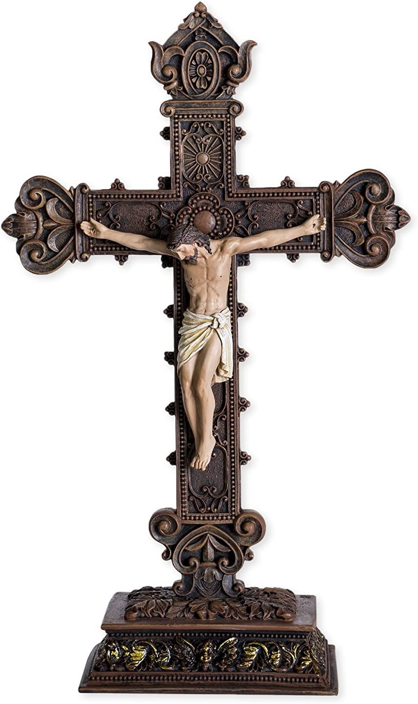 Jesus On The Cross 14.5 Resin Tabletop Crucifix