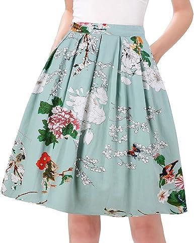 Zeagoo  Women Vintage Print Pleated Maxi Skirt A Line Mini Skirt,Light Blue 1,Large