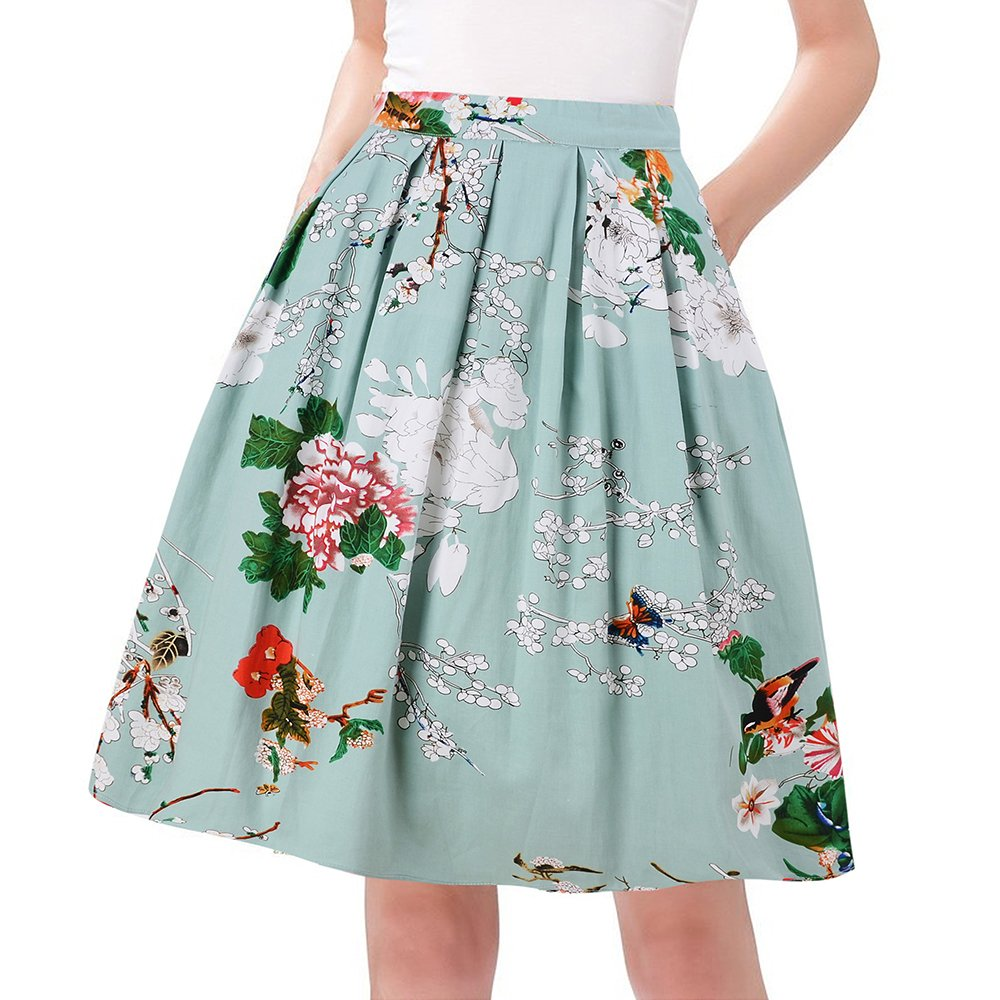 Taydey Women Pleated Vintage Skirt 50's Style Floral Size 2XL Green Flower