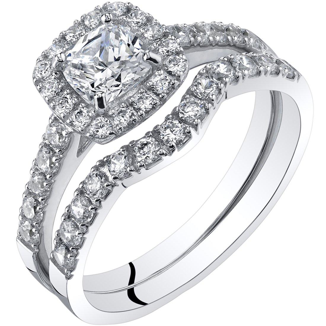 14K White Gold Cushion Cut Engagament Ring and Wedding Band Bridal Set Size 9