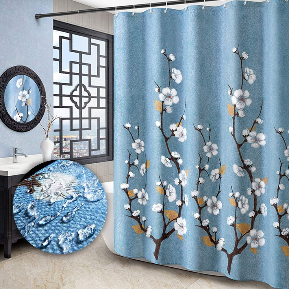 Yuclock Polyester Shower Curtain Bathroom Waterproof and Moisture-Proof Thick Partition Curtain, 240X 200 cm, Include Hook