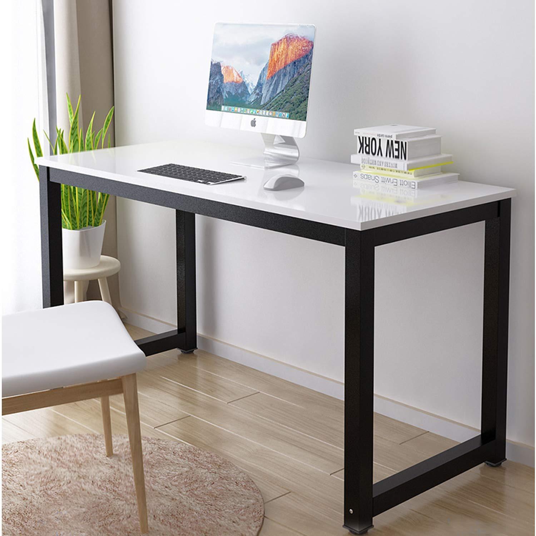 Simple Design Rectangular Computer Table Home Office Desk Easy Assembly 4-Leg (White + Black Leg)
