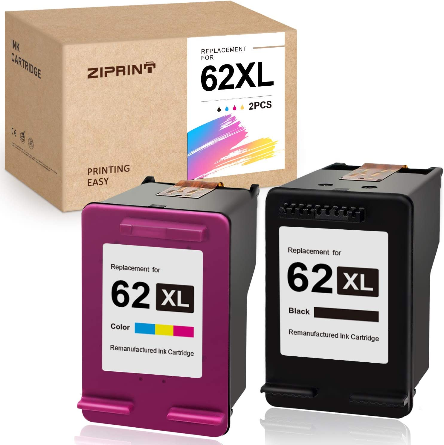 ZIPRIINT Remanufactured Ink Cartridge Replacement for HP 62XL 62 XL for OfficeJet 5740 5745 5743 200 250 Envy 7640 7645 5660 5540 5642 5643 5665 5663 5640 (2-Pack)