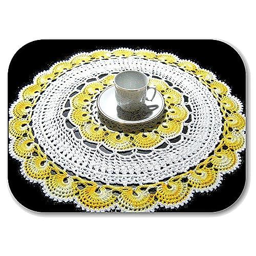 Tapete redondo blanco y amarillo de ganchillo en algodón - Tamaño ...