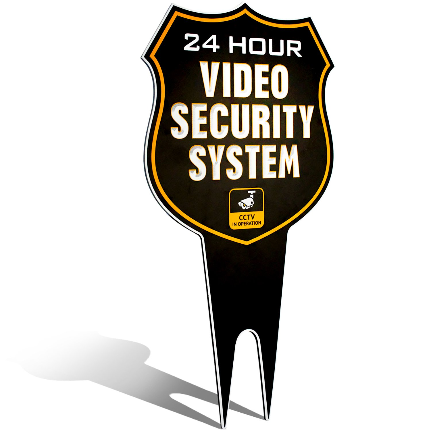 Ultra Reflective Warning 24 Hour Video Surveillance Security Camera System in Operation Metal Yard Sign | Stylish Laser Cut SHIELD Design | Heavy Duty 1/8'' Thick DiBond Aluminum (Reflective)