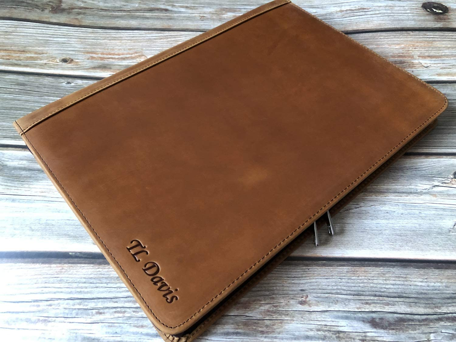 Customize Now, Vintage Brown Free Name Engraved Padfolio Personalized Vintage Leather Binder Portfolio Folder,Custom Gift for Men and Women