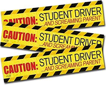 Caution: Student Driver//Screaming Parent Magnet Pack of 3 Bumper Stickers for A New Driver Car Sign 12 x 3