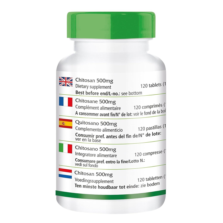 Chitosan 500mg - durante 20 días - ALTA DOSIS - 120 comprimidos - fibra natural: Amazon.es: Salud y cuidado personal