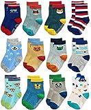 4 Pairs - Trendy Dukaan™ Kids Grip Socks Pack of 4 (Colors & Design May Vary)