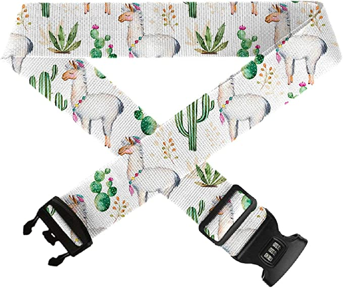 Travel Accessories Adjustable Add-A-Bag Luggage Strap,1 PC Baggage Suitcase Straps Belts TSA Approved Lock GLORY ART Cactus Pattern