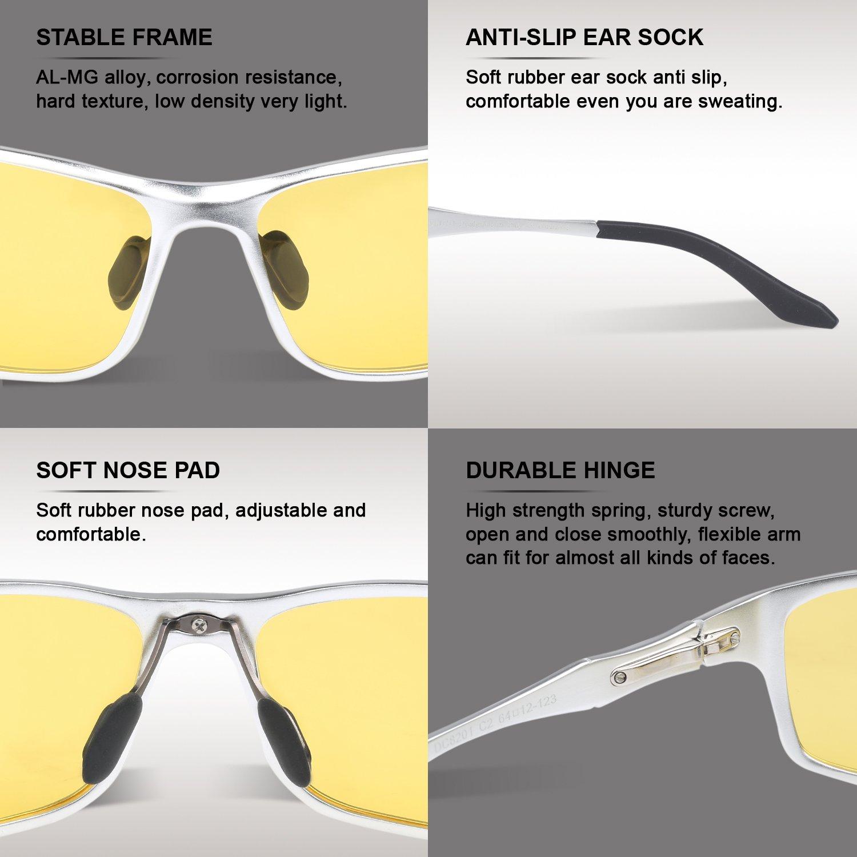 Silber DUCO Nachtsichtgl/äser bei blendenden Scheinwerfern Autofahren Nachtfahrbrille polarisierte Sportbrillen mit gelben Gl/äsern 8201Y