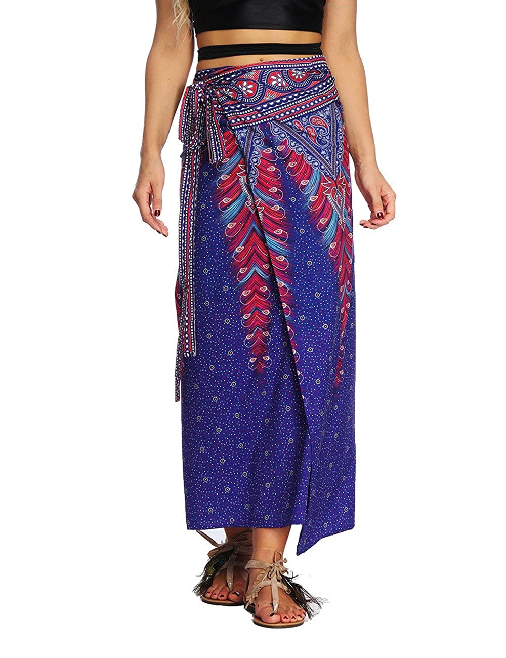 Women Summer Wrap Maxi Skirt Seamless Tie up High Waist One Piece Skirt Indie Folk Hippie Boho Aladdin Wrap-Around Skirt BlackElephant) UKWSOnePSkirtBlackElephant1