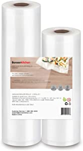 "Bonsenkitchen 8"" & 11"" Vacuum Seal Rolls, BPA Free Food Vacuum Storage Bags, 32 Feet Commerical Grade Customize Sized Food Saver Vac Seal Bags"