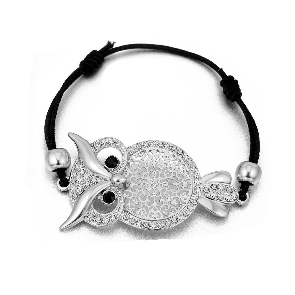 Pulsera de fascino delle donne, pulsera del Polsino del bú ho pulsera de amistad del pulsera de cera del pulsera de amistad punta con el cristal Ouran Jewelry SL04611