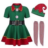 YiZYiF Disfraz Infantil para Navidad Unisex Niños Dsifraces de Elfo Traje de árbol Vestido Top Blusa + Sombrero Disfraz de Santo Equipo del Duende 4-14 Años