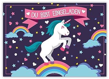 12 Lustige Einladungskarten Set Kindergeburtstag Einhorn Regenbogen Wolke  Sterne Herz Party Karten Rosa Pink Witzig Einladung Geburtstag Party:  Amazon.de: ...