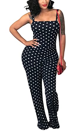 52c54cd3da8 Bluewolfsea Womens Sexy Spaghetti Strap Wide Leg Pants Jumpsuit One Piece Polka  Dots Outfits Small 0